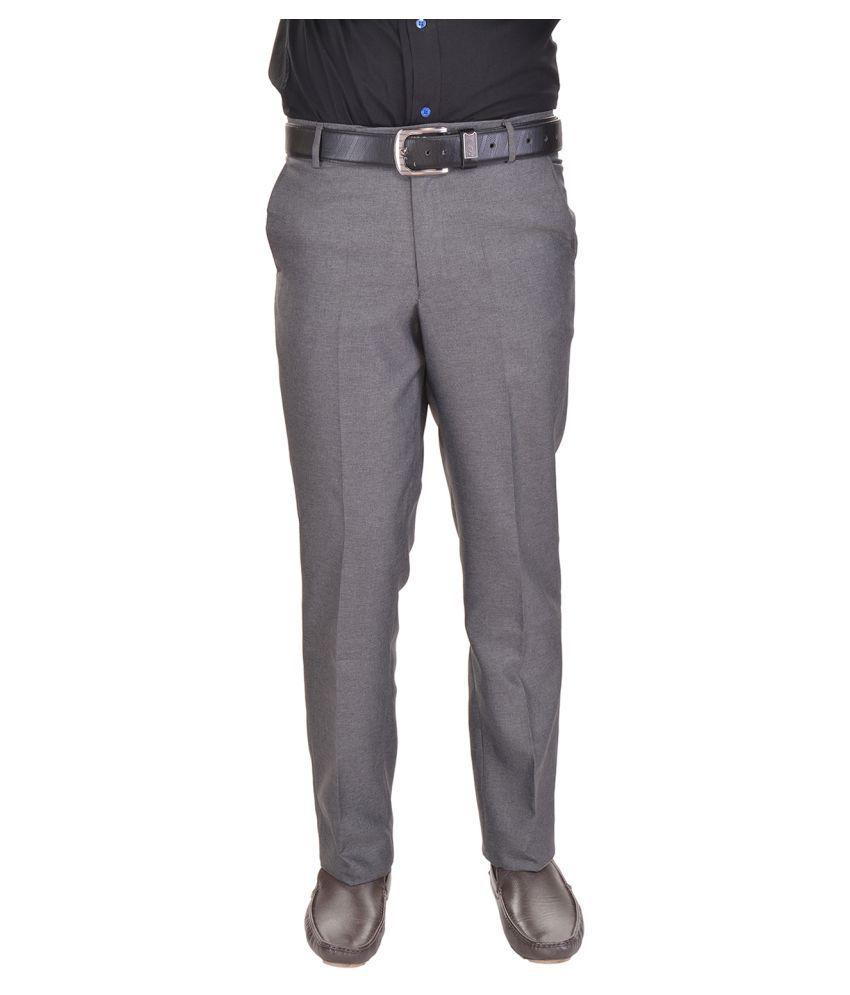 AD & AV Grey Regular Flat Trousers
