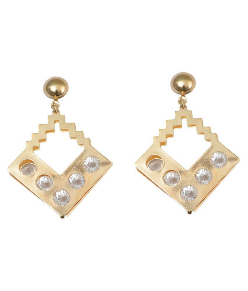 Taj Pearl Designer Golden Earrings