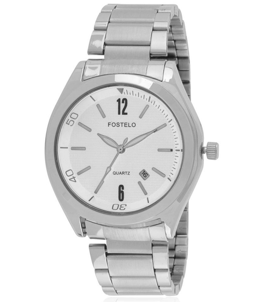 Fostelo Silver Round Analog Wrist Watch for Men