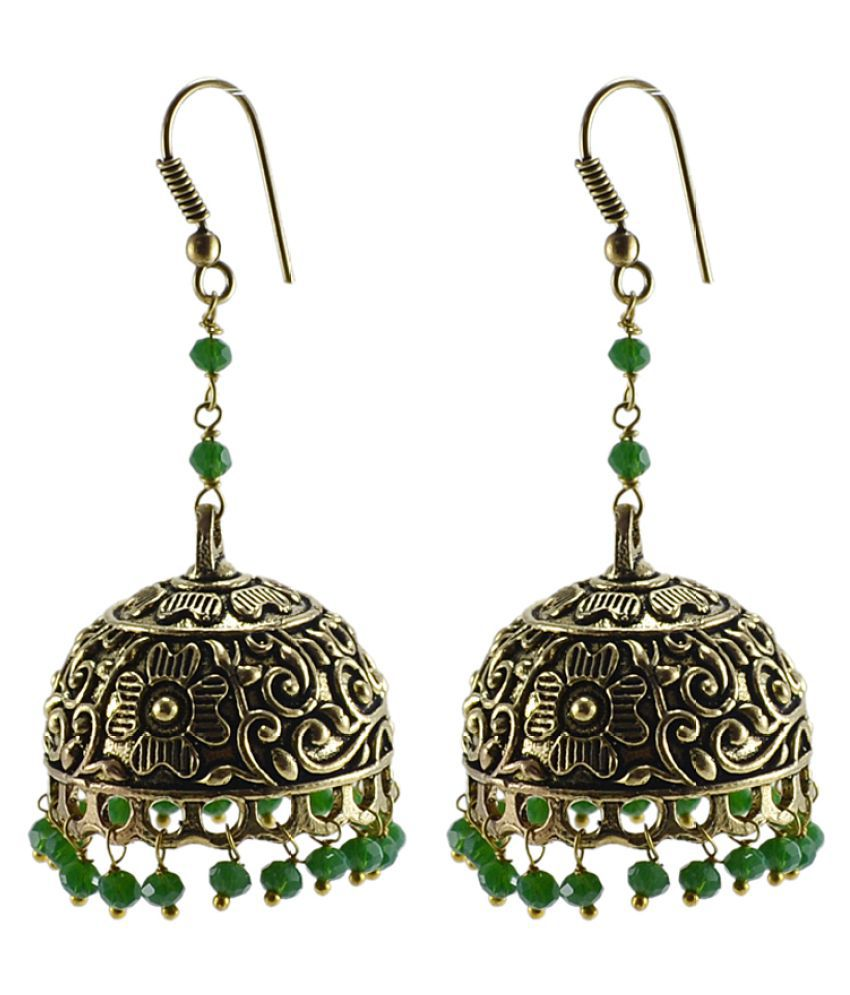Silvesto India Admirably Expressive 28 Grams Crystal Stone Brass Oxidized Handmade Big Jhumki Earrings
