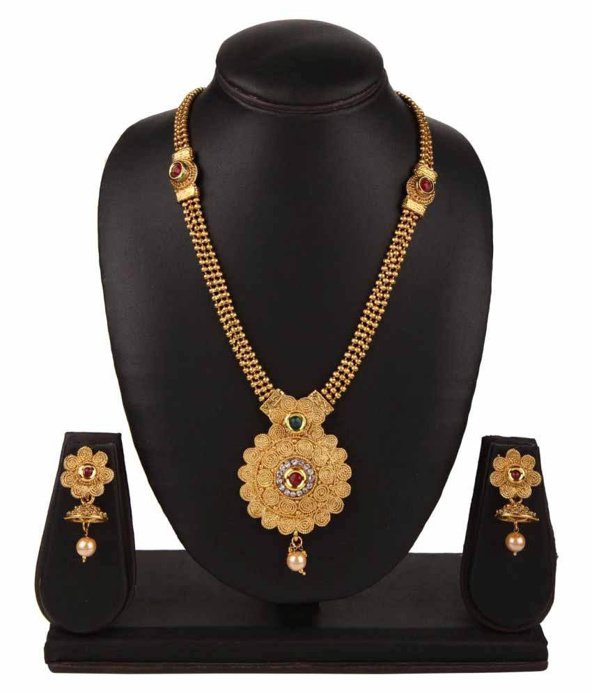 Archi Collection Designer Gold Plated Traditional Kundan Necklace Set