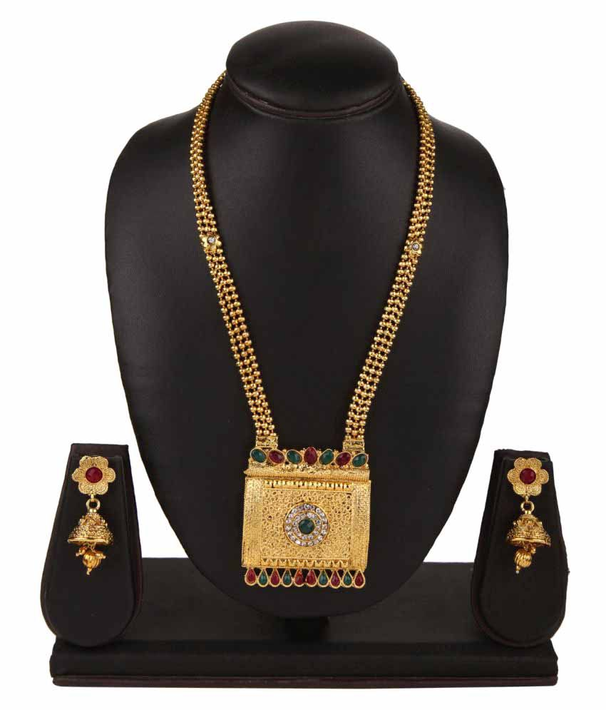 Archi Collection Multicolour Gold Plated Brass Necklace Set