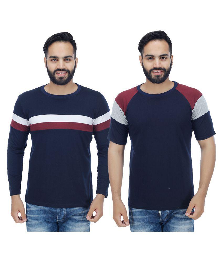 Sanvi Traders Blue Round T-Shirt Pack of 2