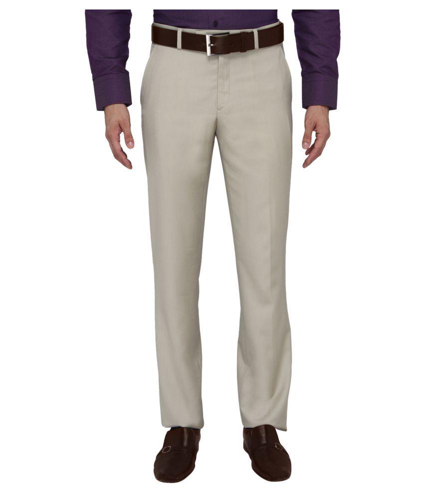 JadeBlue Beige Slim Flat Trousers