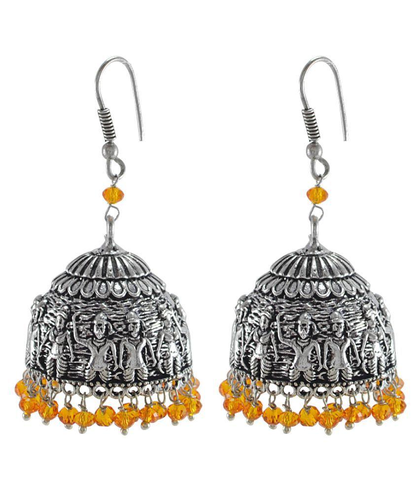 Silvesto India Silver Alloy Jhumka Earring