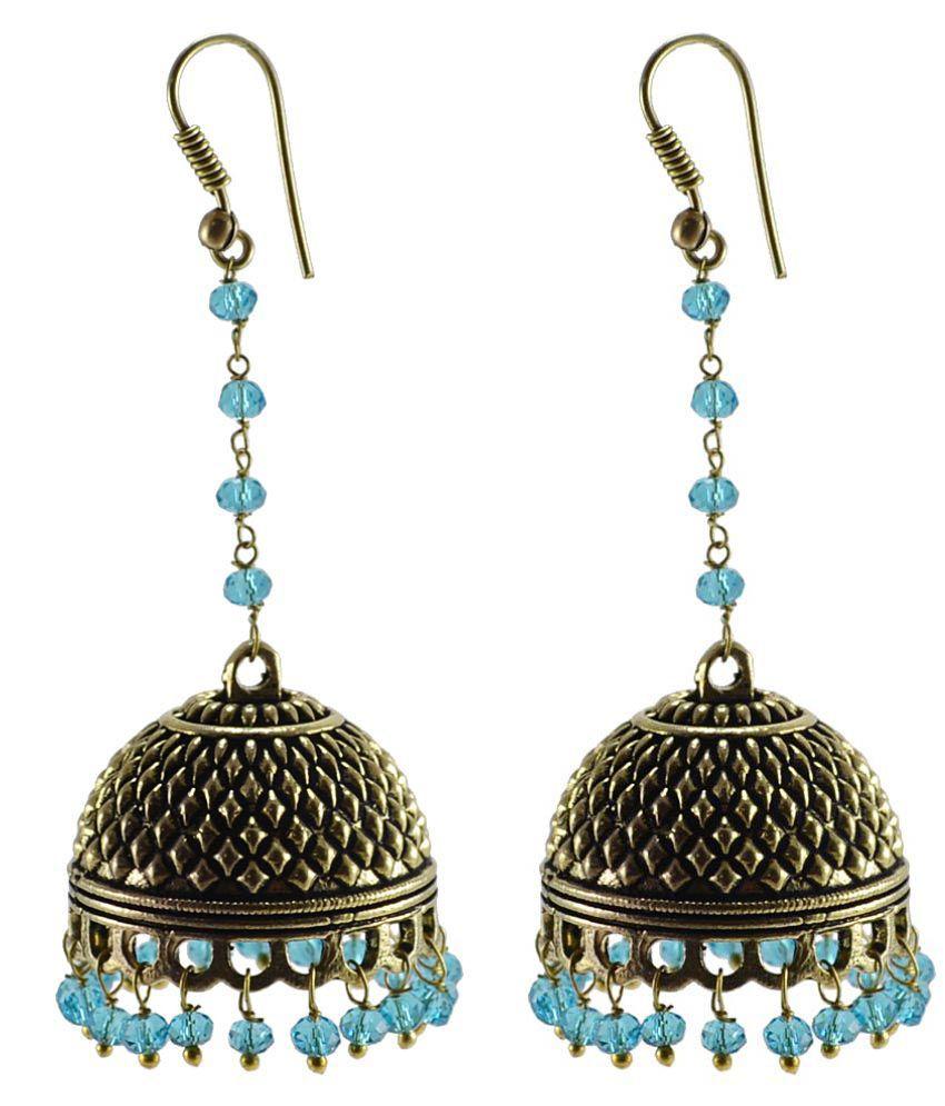 Silvesto India Multicolour Jhumki Earings