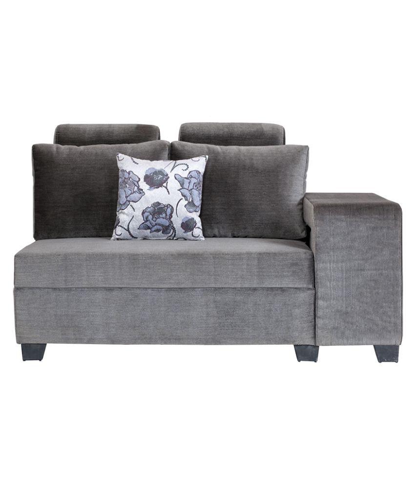... Bharat Lifestyle Square Puffy L Shape Grey Fabric Sofa Set 2+2+1 ...