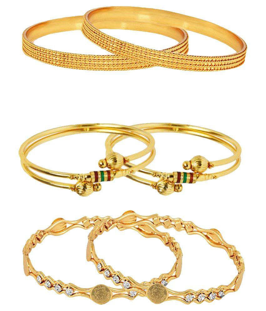 Zeneme Golden Kada Set - Pack of 3 Pairs