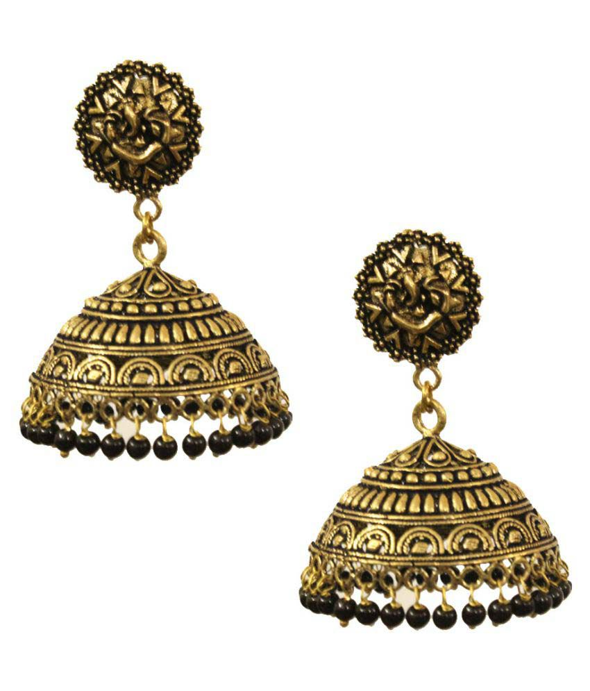 5266d9d358837 Kaizer Jewelry Stunning Black Gold Plated Jhumki
