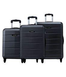 Safari Re-Gloss Anti Scratch Black Set of 3 Small, Medium & Large Trolley Bag Hard Branded Luggage