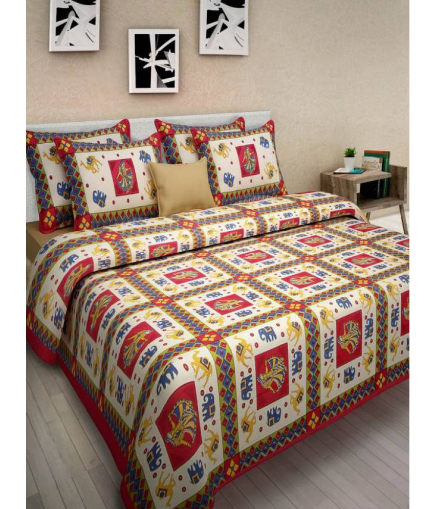 Samradhi Double Cotton Multicolor Traditional Bed Sheet