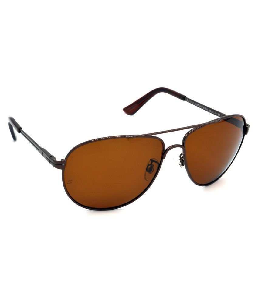 Hrinkar Brown Aviator Sunglasses