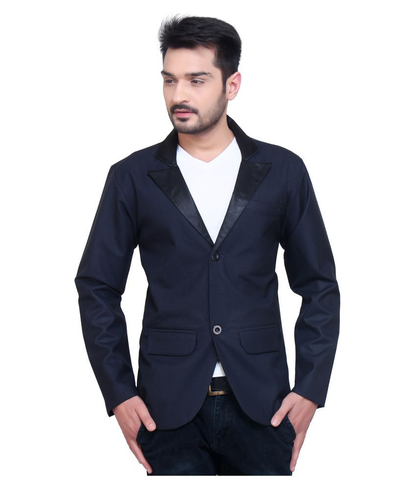 Nu Abc Garments Blue Solid Casual Blazers