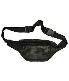 Saifpro Black Leather Travelling Waist Bag