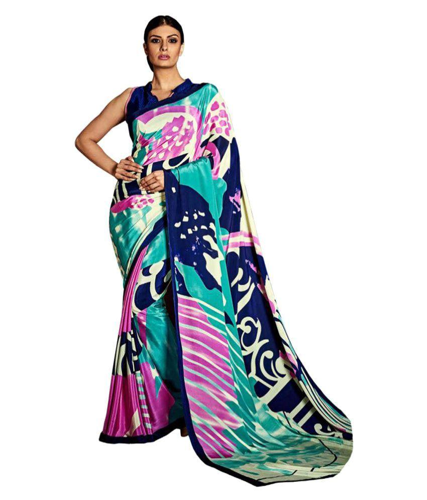 Dharmnandan Fashion Multicoloured Crepe Silk Saree