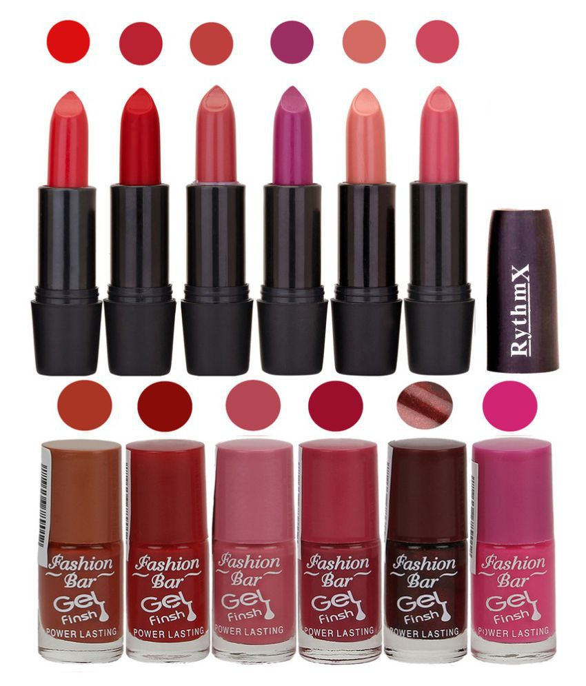 Fashion Bar Nail Polish Kit and Matte Lipstick 2 in 1 Combo Matte 6 ...