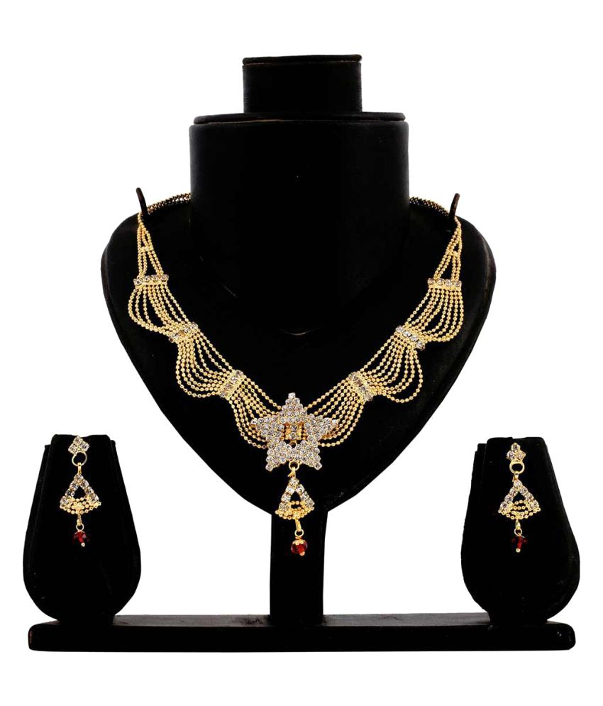 Bahucharaji Creation Golden Alloy Necklace Set