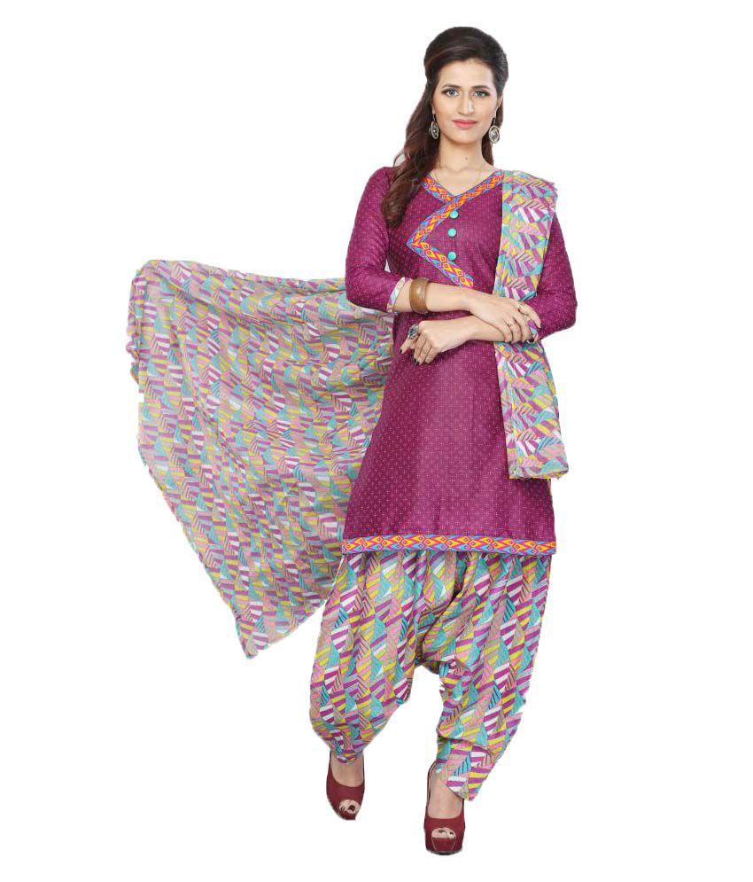 Minu Purple Cotton Straight Stitched Suit