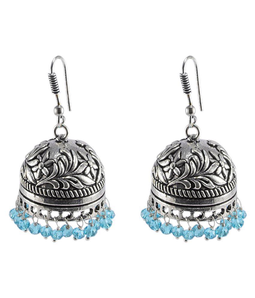 Silvesto India Handmade Oxidized Jhumkis With Topaz Beads