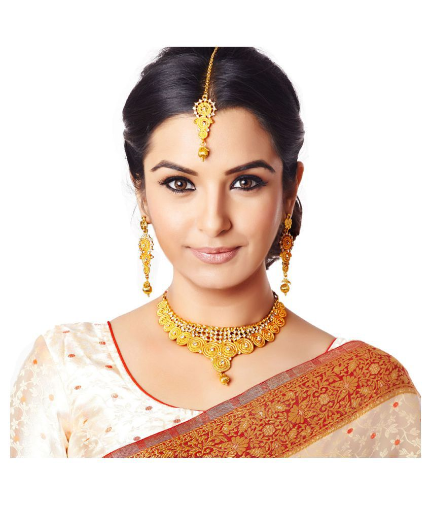 RG Fashions Alloy Gold Plated Stones Studded Golden Choker Necklace Set with Maang Tikka