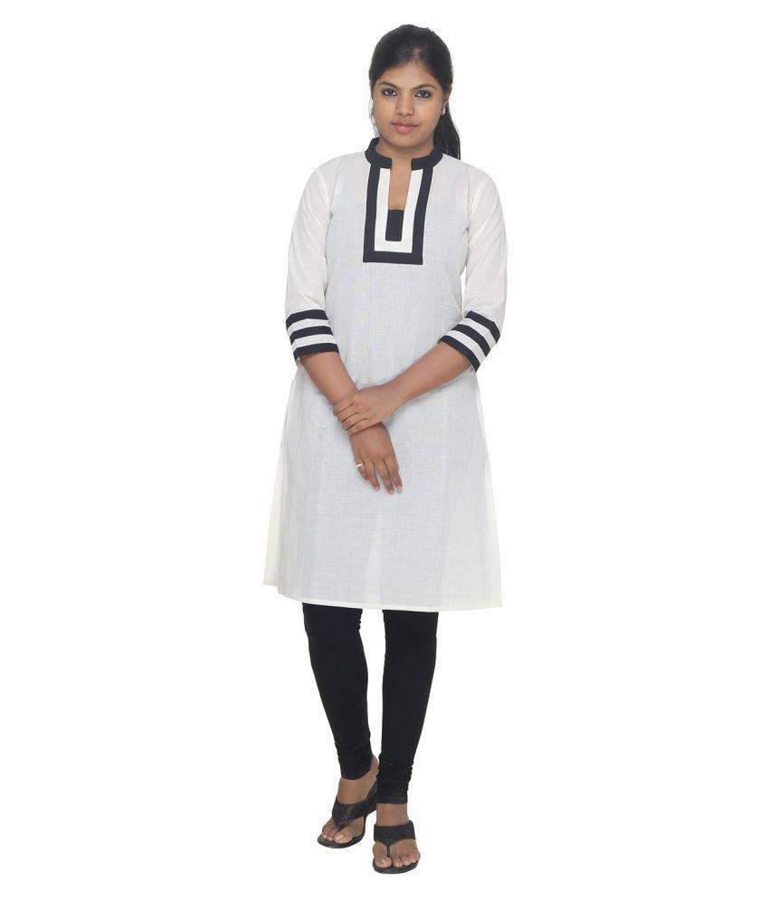 Zubhaa Fashion White Cotton Straight Kurti