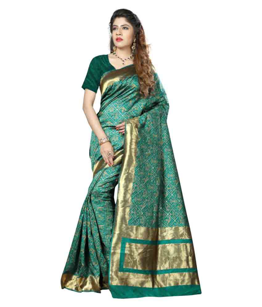 Aagaman Fashions Green Art Silk Saree