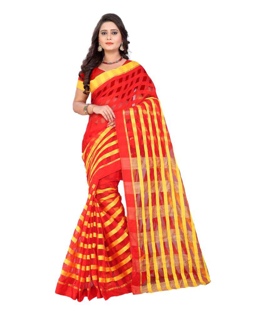 Aagaman Fashions Red Art Silk Saree
