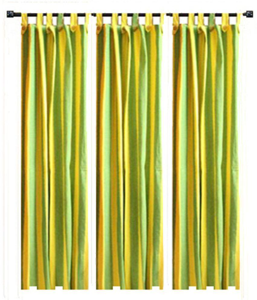 Tidy Set of 3 Window Loop Curtains Stripes Multi Color