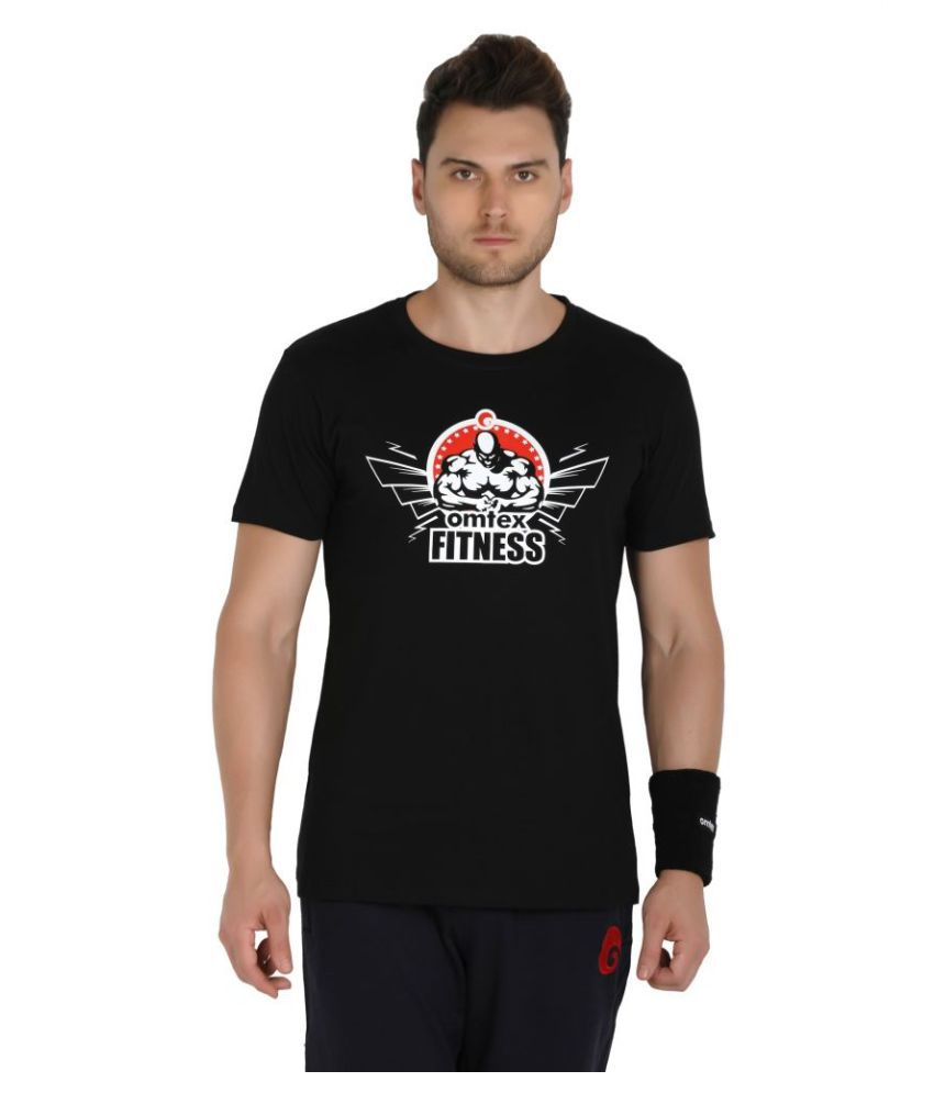 Omtex Black Cotton Casual Sport T-Shirt