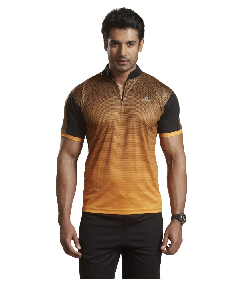 Omtex Orange Polyester Active Wear T-Shirt