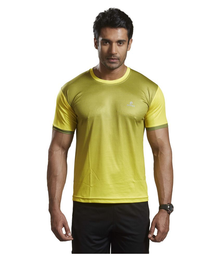 Omtex Yellow Polyester Active Wear T-Shirt