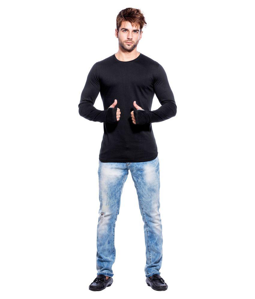 Black t shirt low price -  Maniac Black Round T Shirt