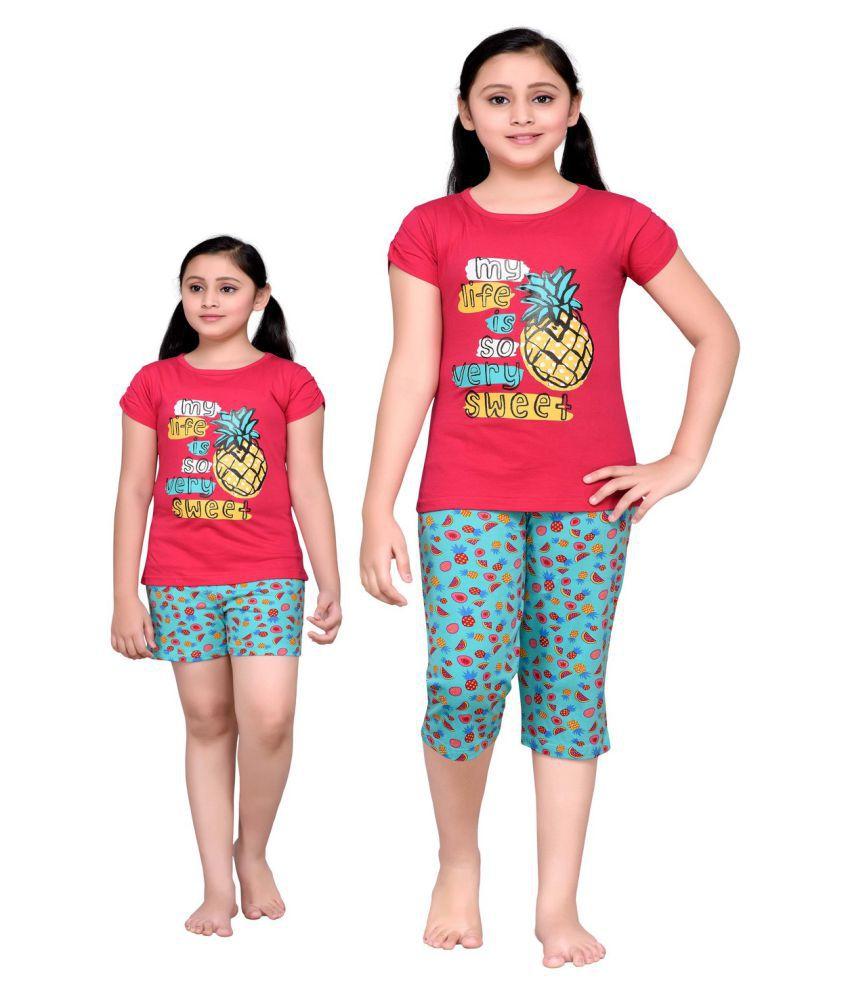 ad37f70c19 Punkster Cotton Top, Capri & Shorts Night Suit Set For Girls - Buy Punkster  Cotton Top, Capri & Shorts Night Suit Set For Girls Online at Low Price -  ...