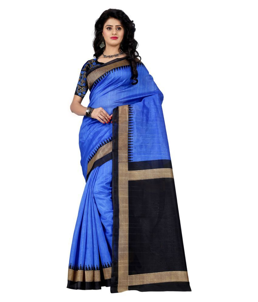 Wama Fashion Blue Bhagalpuri Silk Saree