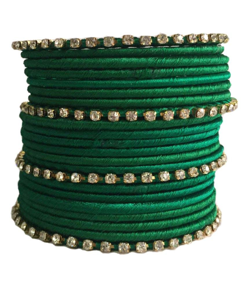 Thirsty Guys Green Silk Thread Plastic Bangles for Women