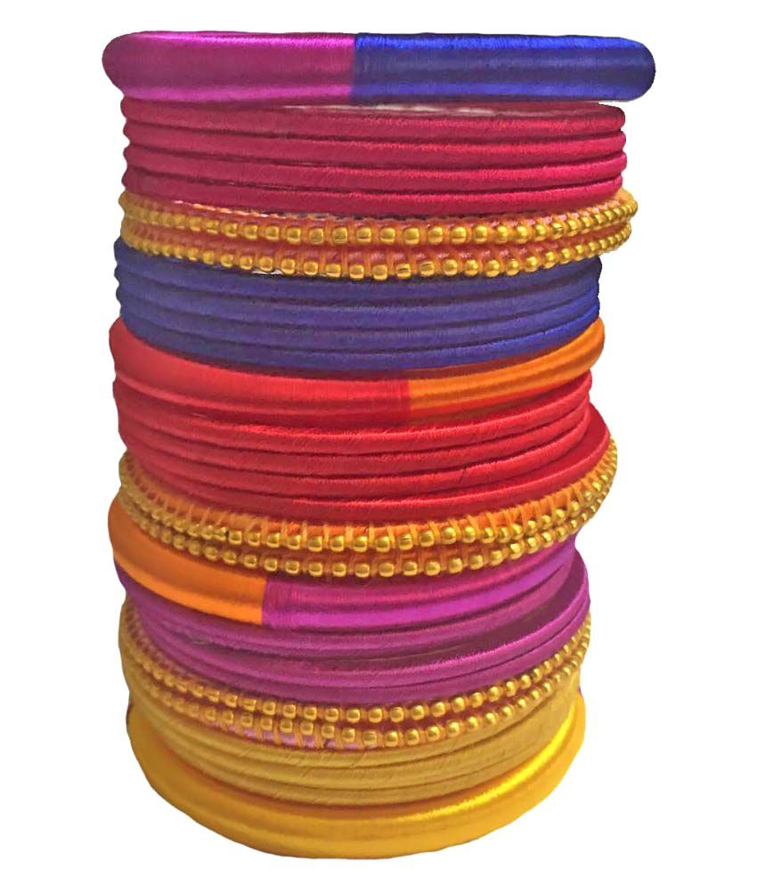 Thirsty Guys Multicolour Silk Thread Plastic Bangle Set for Women