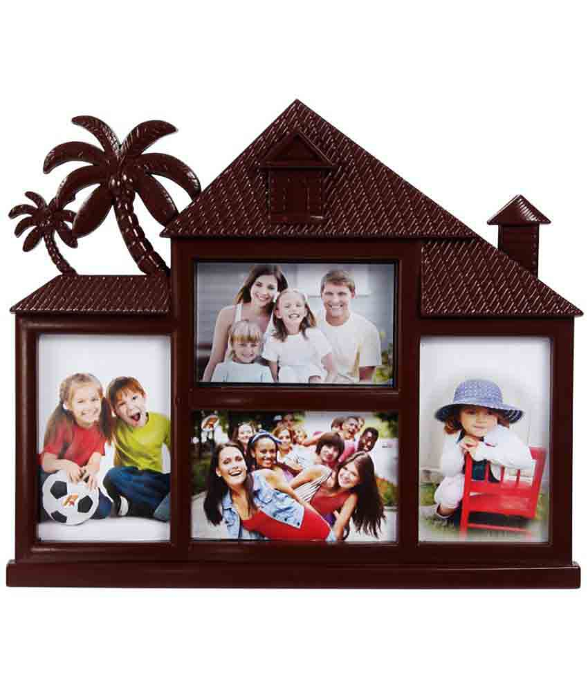 Archies Collage Frames Plastic Wall Hanging Brown Collage Photo Frame -  Pack of 1