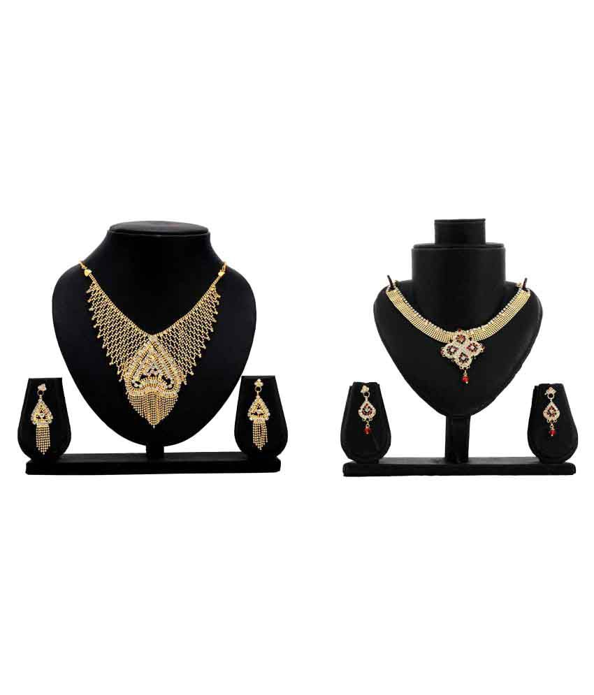 Dealseven Fashion Golden Necklace Set Combo