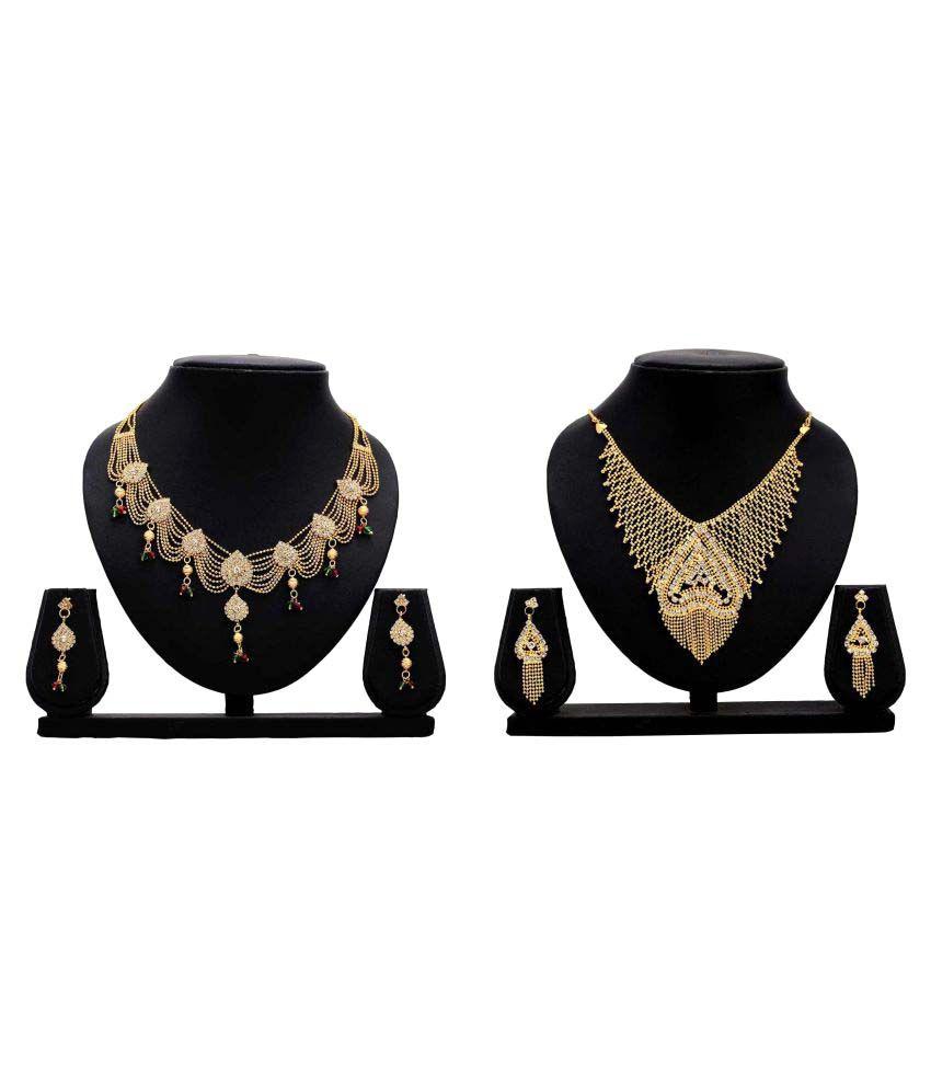 Dealseven Fashion Present Golden Alloy Necklace Set Combo
