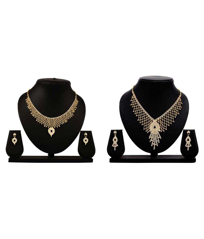Dealseven Fashion Golden Alloy Combo Necklace Set