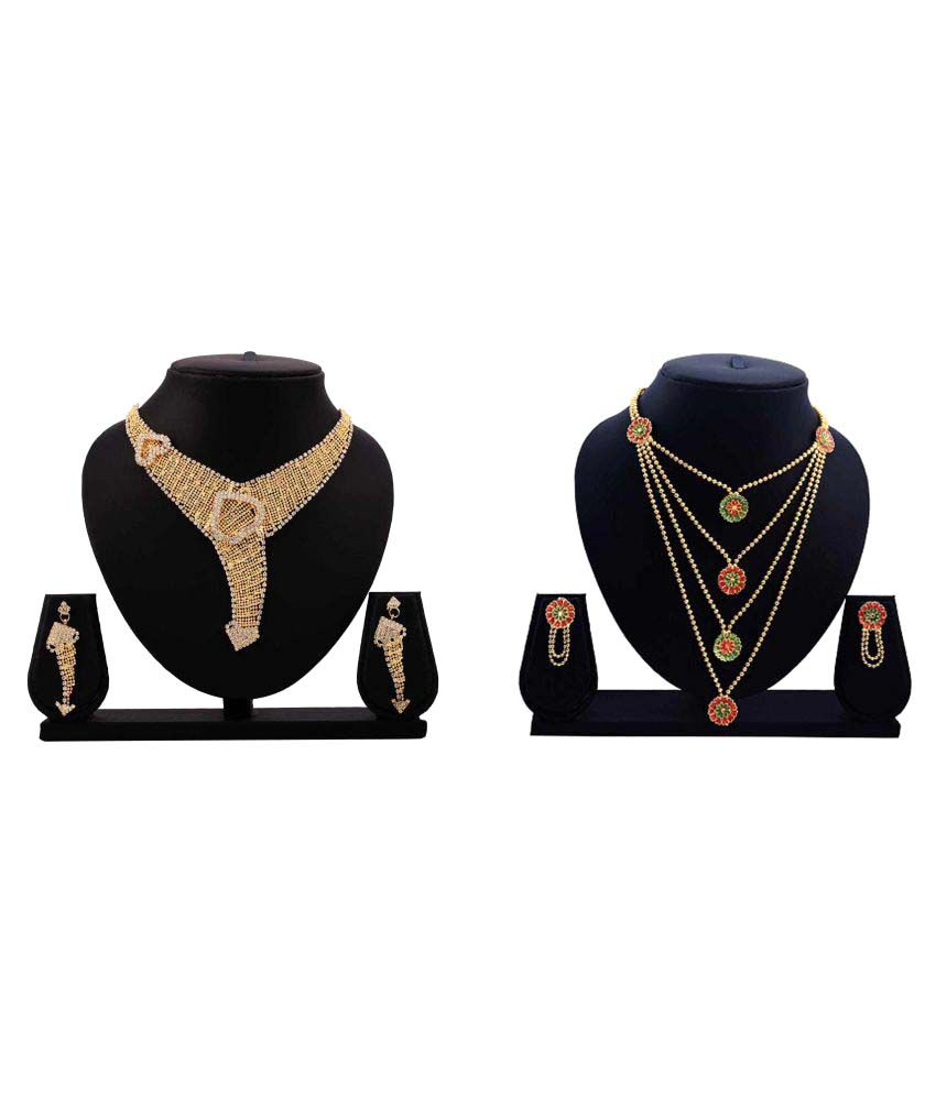 Dealseven Fashion Golden Alloy Necklace Set - Combo of 2