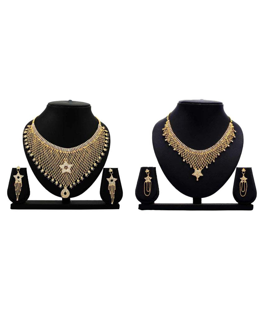 Dealseven Fashion Present Golden Alloy Necklace Set Combo