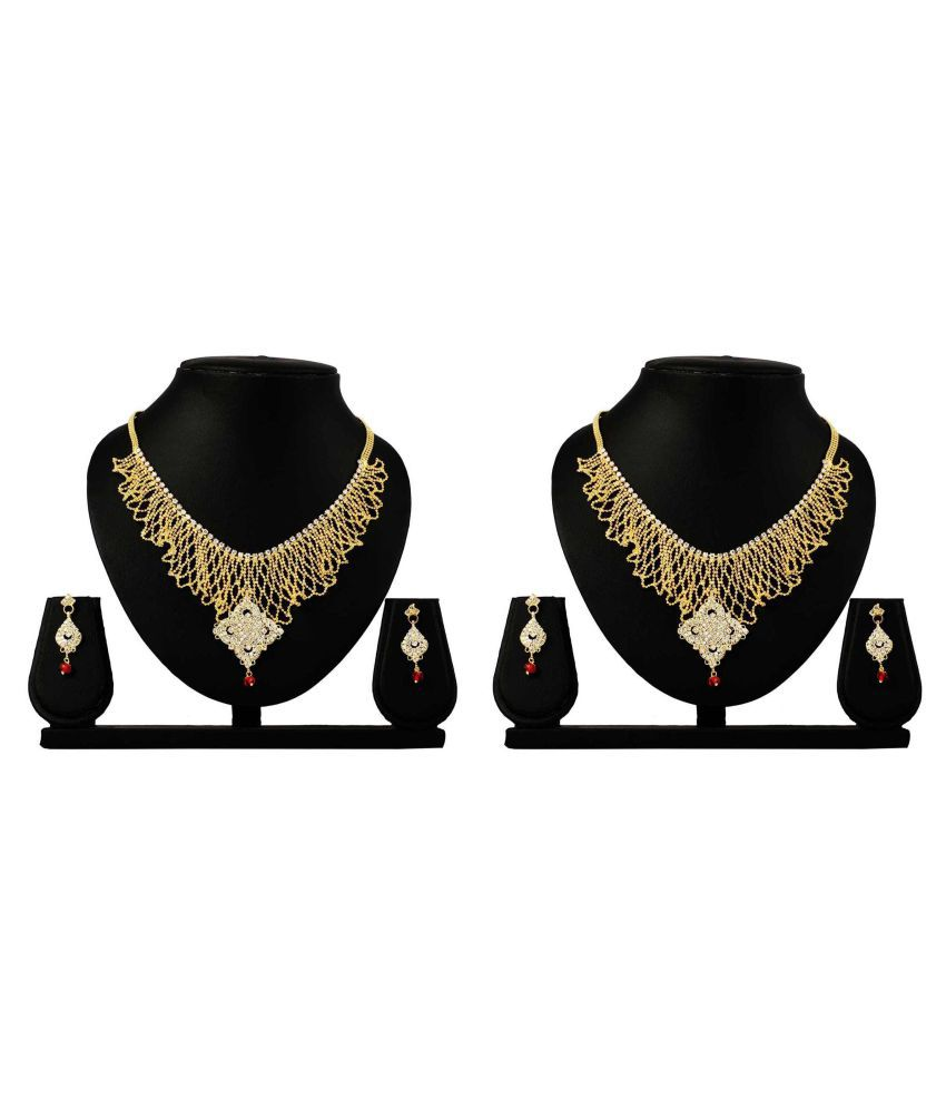 Dealseven Fashion Presents Golden Alloy Combo Necklace Set