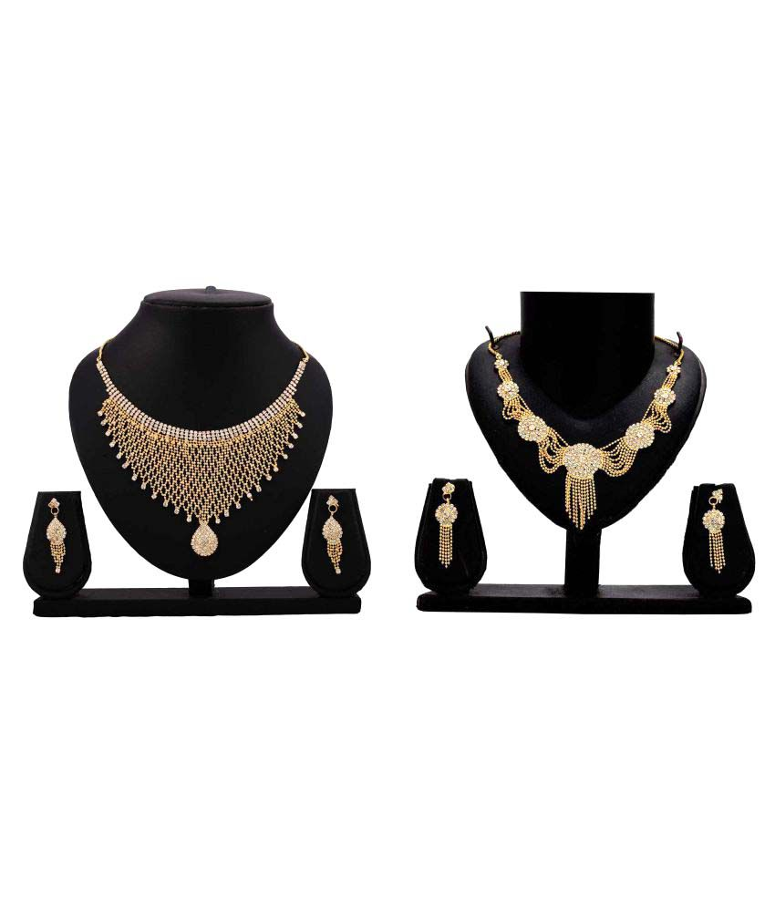 Dealseven Fashion Presents Golden Alloy Combo Necklace Set