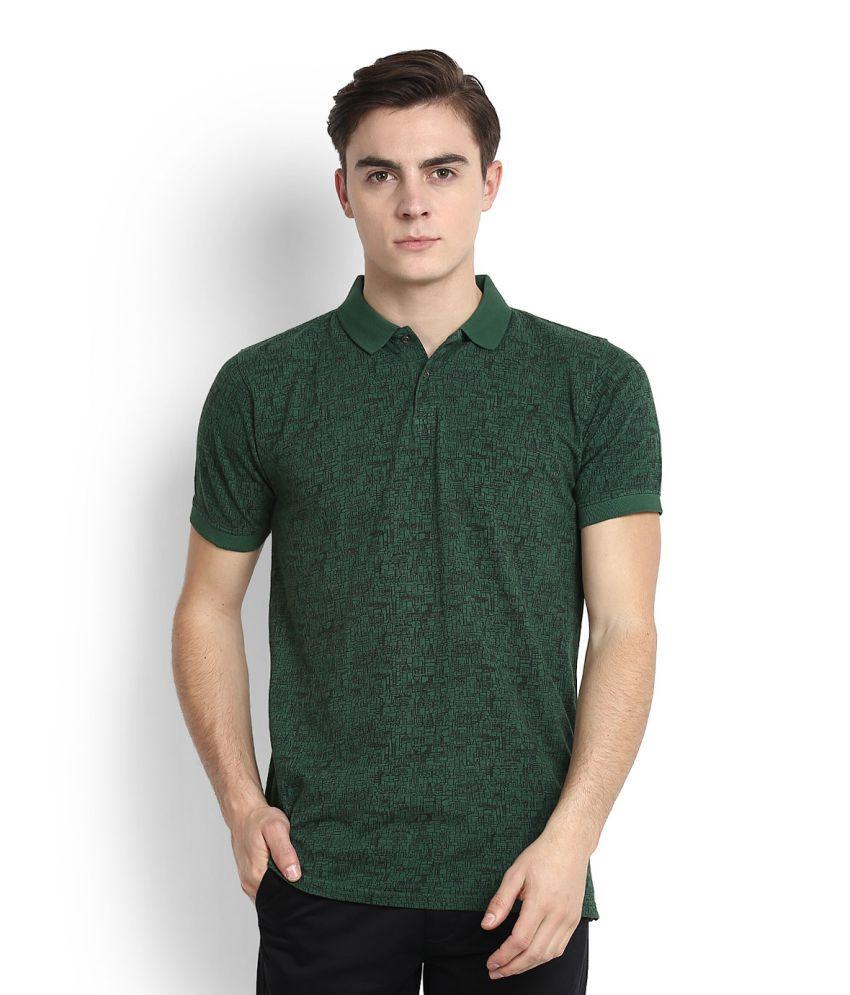 Peter England Green High Neck T Shirt