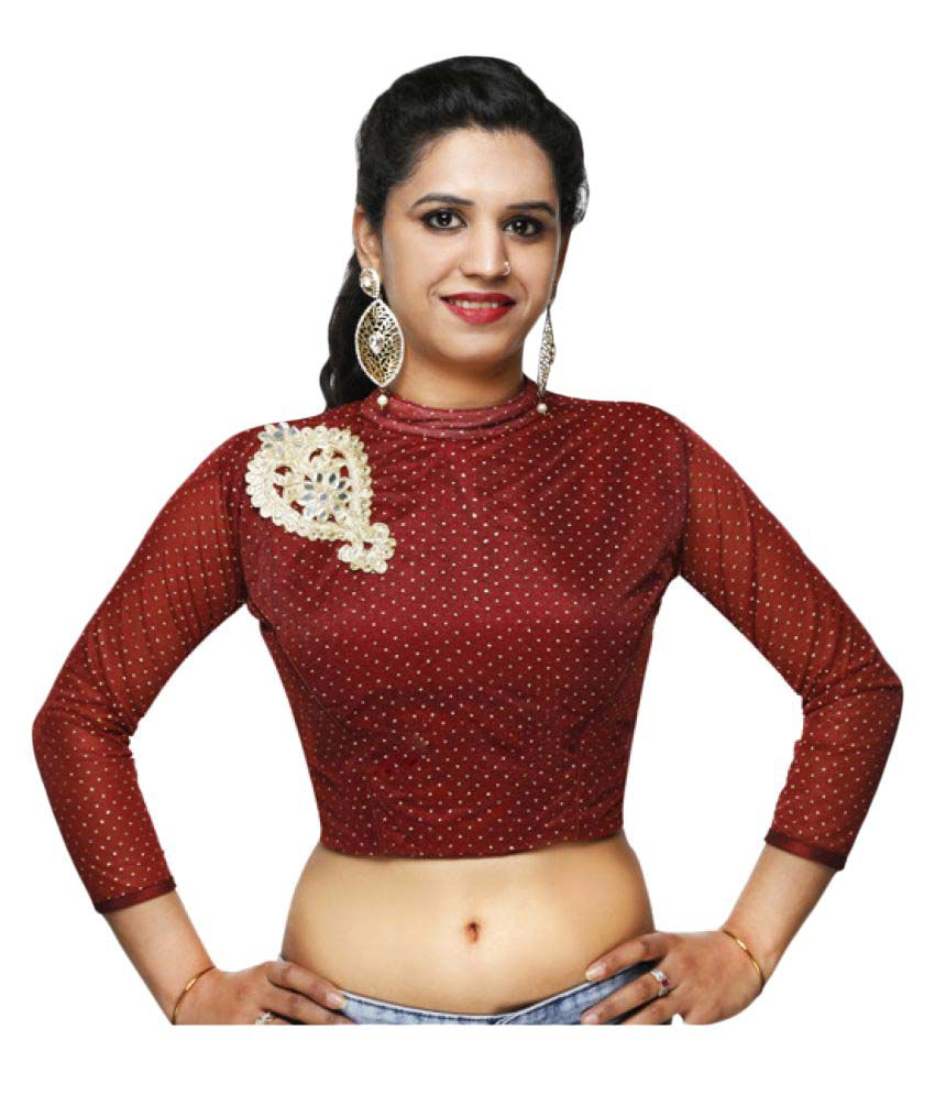 Lady In Style Maroon Round Shape Back Blouse