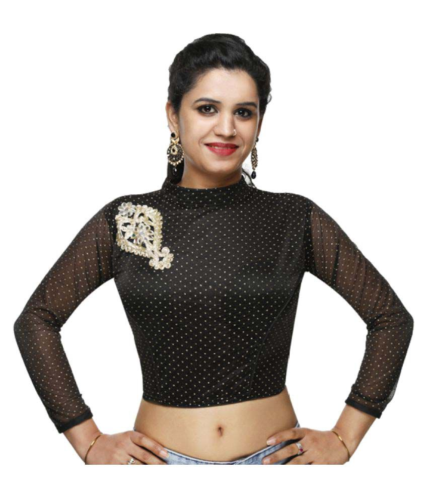 Lady in Style Black Round Shape Back Blouse