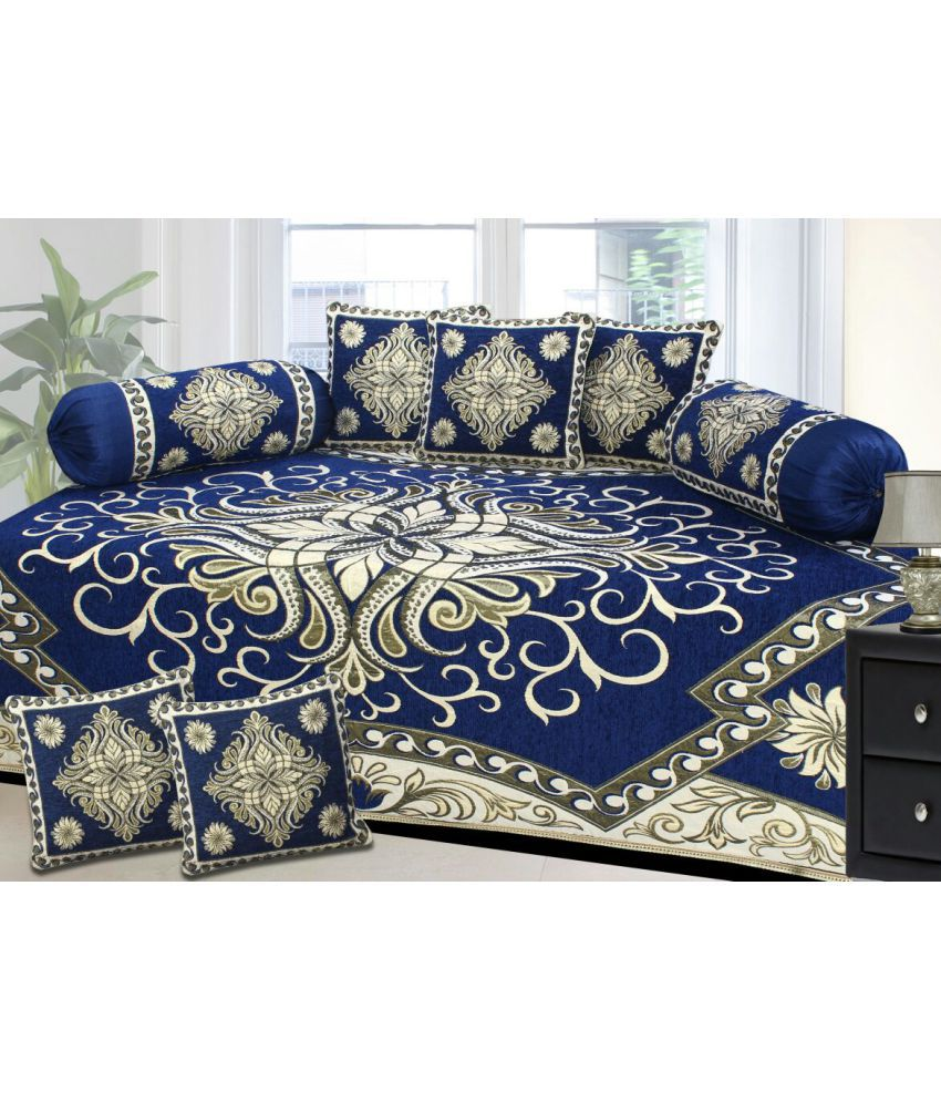 Akshaan Texo Fab Cotton Blue Abstract Diwan Set 8 Pcs