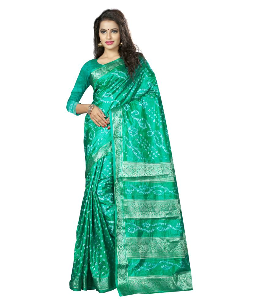 Edeal Online Green Silk Saree