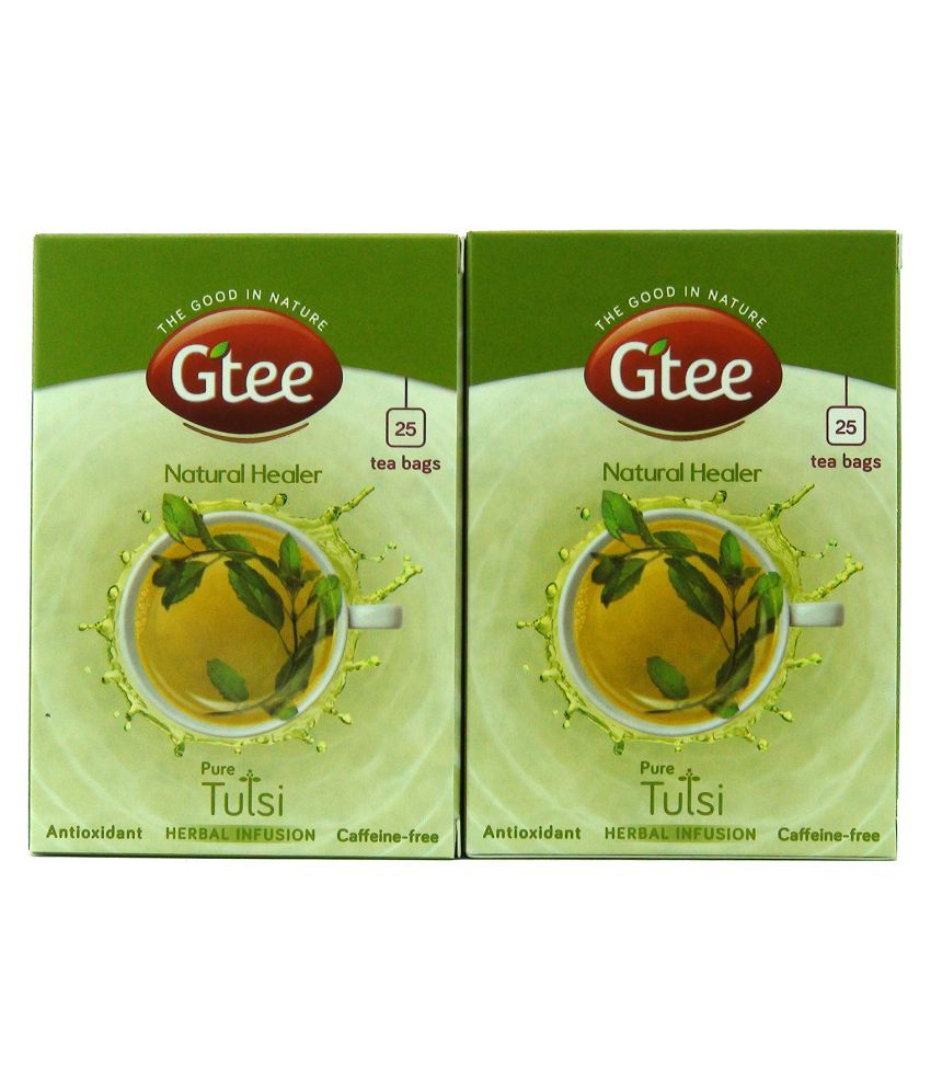 GTEE Herbal Infusion 100% Pure Tulsi Green Tea Bags 50 no.s Pack of 2